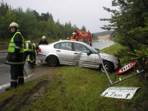 BMW rammt Verkehrszeichen
