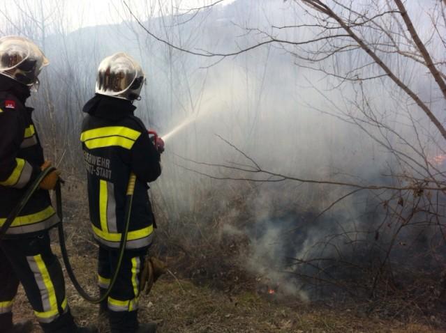 Brandbekämpfung entlang der Südbahn